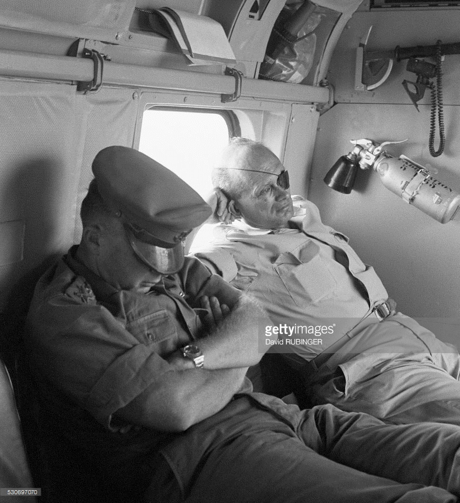 Defense Minister Moshe Dayan and Chief of Staff Yitzhak Rabin fly back from the battlefield on the day after the Six-Day War. June 12, 1967