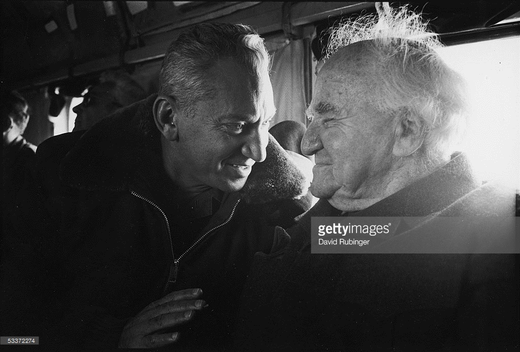 General Haim Bar-Lev and Former Israeli Prime Minister David Ben-Gurion on tour of Israeli defenses along the Suez Canal. January 01, 1971