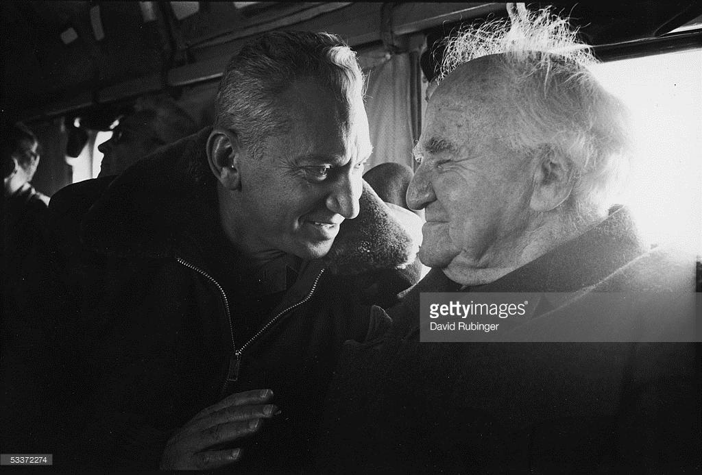 General Haim Bar-Lev and Former Israeli Prime Minister David Ben-Gurion on tour of Israeli defenses along the Suez Canal. January 01, 1971